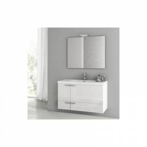 """Nameeks ANS98 ACF 39-1/5"""" Wall Mounted / Floating Vanity Set with Wood Cabinet Ceramic Top with 1 Sink and 1 Mirror Glossy White Bathroom Storage  - Glossy White"""