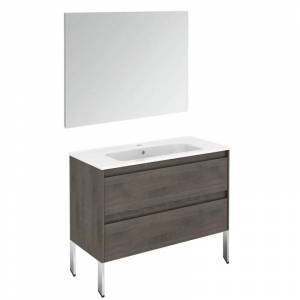 """WS Bath Collections Ambra 100F Pack 1 Ambra 40"""" Single Vanity Set with Engineered Wood Cabinet Ceramic Vanity Top with Integrated Sink and Mirror"""