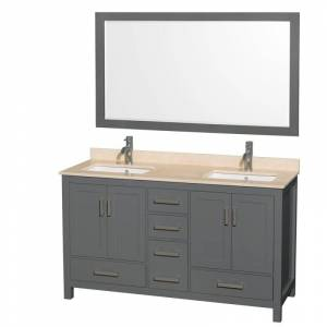 """Wyndham Collection WCS141460DUNSM58 Sheffield 60"""" Freestanding Vanity Set with Hardwood Cabinet Marble Vanity Top Mirror and Two Undermount"""