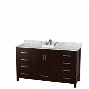 """Wyndham Collection WCS141460SUNOMXX Sheffield 60"""" Freestanding Vanity Set with Hardwood Cabinet Marble Vanity Top and Undermount Oval Sink - Less  - Espresso,Carrera Top"""