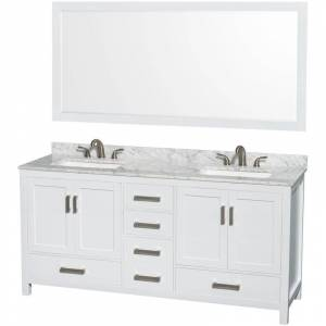 """Wyndham Collection WCS141472DCMUS3M70 Sheffield 72"""" Free Standing Double Basin Vanity Set with Wood Cabinet Marble Vanity Top and Framed Mirror  - White"""