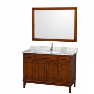 "Wyndham Collection WCV161648SUNSM44 Hatton 44"" Free Standing Vanity Set with Hardwood Cabinet Marble Top Undermount Sink and 44"" Mirror Light"
