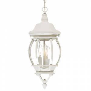 """Acclaim Lighting 5160 Chateau 3 Light 19.5"""" Height Outdoor Pendant Textured White / Clear Beveled Glass Outdoor Lighting Pendants  - Textured White,Clear Beveled Glass"""