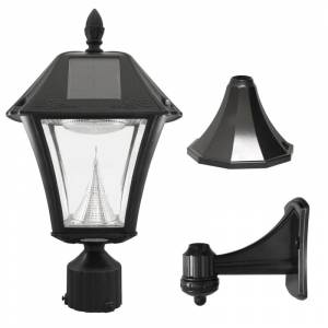 "Gama Sonic 105033 Baytown II Solar Powered 19"" Tall 6000K LED Outdoor Wall Sconce Black Outdoor Lighting Wall Sconces"
