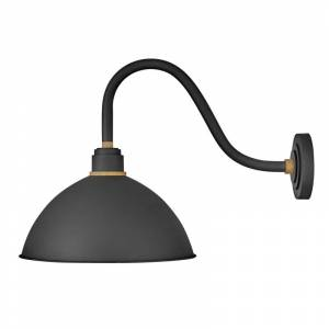 """Hinkley Lighting 10645 Foundry Single Light 18"""" Tall Outdoor Wall Sconce Textured Black / Brass Outdoor Lighting Wall Sconces  - Textured Black,Brass"""