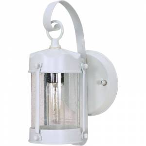 """Nuvo Lighting 60/3460 11"""" Tall Outdoor Wall Sconce with a Cylinder Shaped Glass Shade White Outdoor Lighting Wall Sconces  - White"""