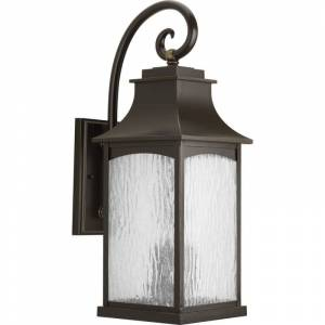 """Progress Lighting P5755 Maison 24"""" Tall 3 Light Outdoor Wall Sconce with Water Glass Shade Oil Rubbed Bronze Outdoor Lighting Wall Sconces Outdoor  - Oil Rubbed Bronze"""