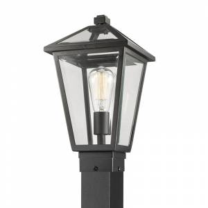 """Z-Lite 579PHMS-536P Talbot 110"""" Tall Outdoor Single Head Post Light with Square Base Black Outdoor Lighting Post Lights Single Head Post Lights  - Black"""