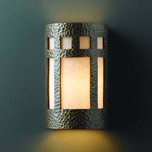 "Justice Design Group CER-7355W Single Light 12.5"" Exterior Large Prairie Window Wall Sconce Rated for Wet Locations from the Ceramic Collection  - Antique Gold"