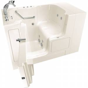 """American Standard 3252OD.709.CL Value 52"""" Walk-In Whirlpool / Air Bathtub with Left-Hand Drain Comfort Jets and Quick Drain Pump - Roman Tub Filler"""