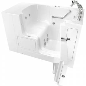 "American Standard 3252OD.709.WR Value 52"" Walk-In Whirlpool Bathtub with Right-Hand Drain Comfort Jets and Quick Drain Pump - Roman Tub Filler and"