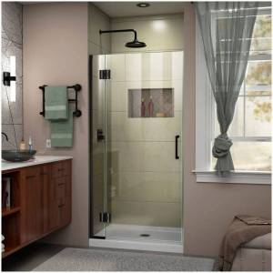 "DreamLine D12472 Unidoor-X 72"" High x 30"" Wide Hinged Frameless Shower Door with Clear Glass Satin Black Showers Shower Doors Hinged"