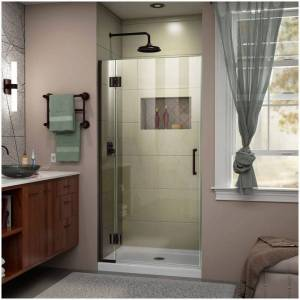 """DreamLine D12572 Unidoor-X 72"""" High x 31"""" Wide Hinged Frameless Shower Door with Clear Glass Oil Rubbed Bronze Showers Shower Doors Hinged"""