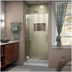 """DreamLine D12772 Unidoor-X 72"""" High x 33"""" Wide Hinged Frameless Shower Door with Clear Glass Brushed Nickel Showers Shower Doors Hinged"""