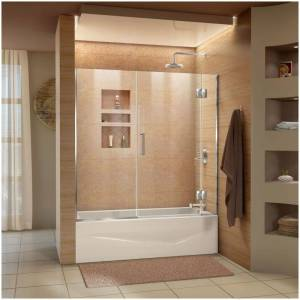 """DreamLine D58580 Unidoor-X 58"""" High x 58"""" Wide Hinged Frameless Shower Door with Clear Glass Chrome Showers Shower Doors Hinged"""
