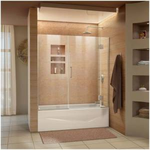 """DreamLine D58580 Unidoor-X 58"""" High x 58"""" Wide Hinged Frameless Shower Door with Clear Glass Brushed Nickel Showers Shower Doors Hinged"""