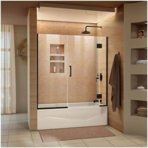 "DreamLine D58580 Unidoor-X 58"" High x 58"" Wide Hinged Frameless Shower Door with Clear Glass Satin Black Showers Shower Doors Hinged"