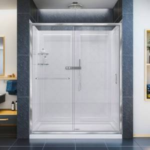 """DreamLine DL-6118C-CL Infinity-Z 76-3/4"""" High x 60"""" Wide Sliding Framed Shower Door with Clear Glass and 34"""" Deep x 60"""" Wide Shower Base with Center  - Chrome"""