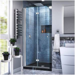"DreamLine DL-6529C Aqua Fold 74-3/4"" H x 32"" W x 32"" D Bi-Fold Frameless Shower Enclosure with Clear Glass and 32"" x 32"" Shower Base Chrome with Black"