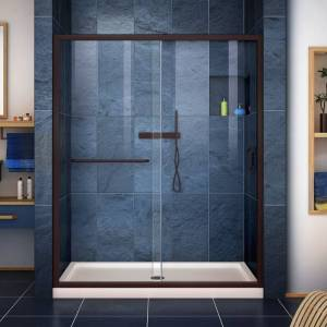 "DreamLine DL-6970C Infinity-Z 74-3/4"" High x 60"" Wide 30"" Deep Sliding Framed Shower Door with Clear Glass SlimeLine Shower Base Kit and Center  - Oil Rubbed Bronze with Biscuit Base"