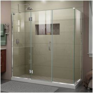 "DreamLine E3242234L Unidoor-X 72"" High x 70"" Wide x 34-3/8"" Deep Hinged Frameless Shower Enclosure with Clear Glass and Left Hinge Chrome Showers  - Chrome"