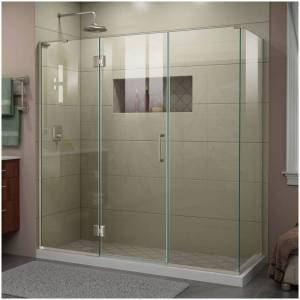 """DreamLine E3242234L Unidoor-X 72"""" High x 70"""" Wide x 34-3/8"""" Deep Hinged Frameless Shower Enclosure with Clear Glass and Left Hinge Brushed Nickel  - Brushed Nickel"""