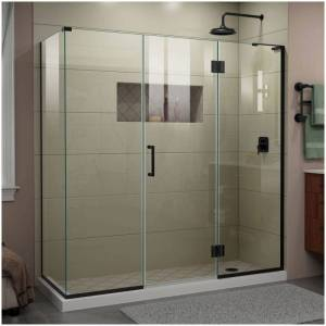 """DreamLine E3242234R Unidoor-X 72"""" High x 70"""" Wide x 34-3/8"""" Deep Hinged Frameless Shower Enclosure with Clear Glass and Right Hinge Satin Black  - Satin Black"""