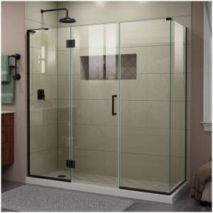 """DreamLine E32422534L Unidoor-X 72"""" High x 70-1/2"""" Wide x 34-3/8"""" Deep Hinged Frameless Shower Enclosure with Clear Glass and Left Hinge Satin Black  - Satin Black"""