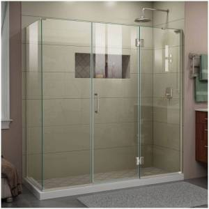"""DreamLine E32422534R Unidoor-X 72"""" High x 70-1/2"""" Wide x 34-3/8"""" Deep Hinged Frameless Shower Enclosure with Clear Glass and Right Hinge Brushed  - Brushed Nickel"""