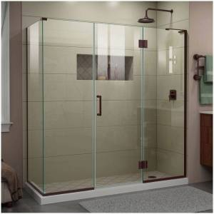 """DreamLine E32422534R Unidoor-X 72"""" High x 70-1/2"""" Wide x 34-3/8"""" Deep Hinged Frameless Shower Enclosure with Clear Glass and Right Hinge Oil Rubbed  - Oil Rubbed Bronze"""