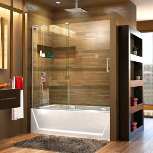 """DreamLine SHDR-1960580L Mirage-X 56"""" - 60"""" W x 58"""" H Sliding Frameless Tub Door with Clear Glass and Fixed Left Panel Chrome Showers Shower Doors"""