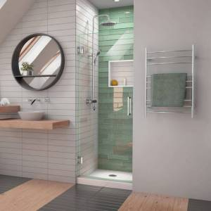 "DreamLine SHDR-2023722 Unidoor-LS 72"" High x 23"" Wide Hinged Frameless Shower Door with Clear Glass Chrome Showers Shower Doors Hinged"