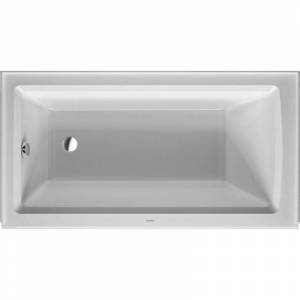 "Duravit 700354-L-19TALL Architec 60"" Alcove Acrylic Soaking Tub with Left Drain and Overflow White Tub Soaking Alcove"