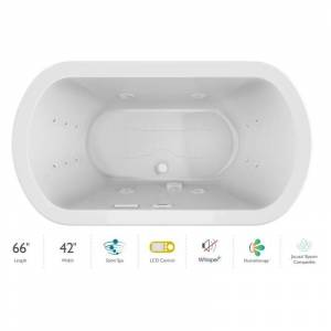 """Jacuzzi DUE6642CCR5IP Duetta 66"""" Drop-In Spa Combination Bathtub with Center Drain LCD Controls and Illumatherapy White / White Trim Tub Air /"""