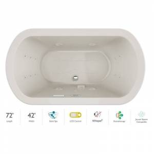 """Jacuzzi DUE7242CCR5IP Duetta 72"""" Drop-In Spa Combination Bathtub with Center Drain LCD Controls and Illumatherapy Oyster / Chrome Trim Tub Air /"""