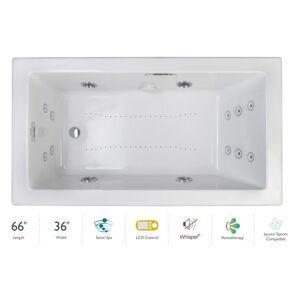"Jacuzzi ELA6636CLR5IP Elara 66"" Drop-In Spa Combination Bathtub with Left Drain LCD Controls and Illumatherapy White / Chrome Trim Tub Air /"