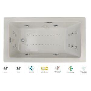 "Jacuzzi ELA6636CLR5IP Elara 66"" Drop-In Spa Combination Bathtub with Left Drain LCD Controls and Illumatherapy Oyster / Chrome Trim Tub Air /"
