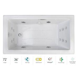 "Jacuzzi ELA7236CLR5IP Elara 72"" Drop-In Spa Combination Bathtub with Left Drain LCD Controls and Illumatherapy White / Chrome Trim Tub Air /"