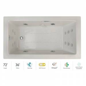 "Jacuzzi ELA7236CLR5IP Elara 72"" Drop-In Spa Combination Bathtub with Left Drain LCD Controls and Illumatherapy Oyster / Oyster Trim Tub Air /"