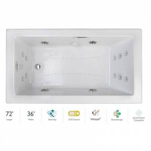 "Jacuzzi ELA7236CRL5IP Elara 72"" Drop-In Spa Combination Bathtub with Right Drain LCD Controls and Illumatherapy White / White Trim Tub Air /"