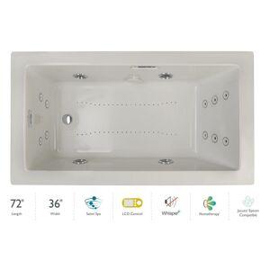 "Jacuzzi ELA7236CRL5IP Elara 72"" Drop-In Spa Combination Bathtub with Right Drain LCD Controls and Illumatherapy Oyster / Chrome Trim Tub Air /"