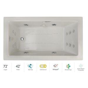 "Jacuzzi ELA7242CRL5IP Elara 72"" Drop-In Spa Combination Bathtub with Right Drain LCD Controls and Illumatherapy Oyster / Chrome Trim Tub Air /"