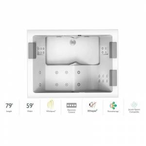 """Jacuzzi ELA7959WCD4CW Elara® Plus 79"""" Drop In Acrylic Whirlpool Tub with Front Drain Drain Assembly and Overflow - Includes Whisper+ Technology™ and"""