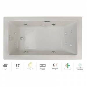 "Jacuzzi ELL6032WRL4IP Elara 60"" Drop-In Whirlpool Bathtub with Right Drain Whisper+ Technology™ and Illumatherapy Oyster / Chrome Trim Tub Whirlpool"