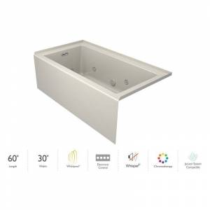 "Jacuzzi LNS6030WLR2CP Linea 60"" x 30"" Three Wall Alcove Whirlpool Bathtub with Left Drain Heater and Whisper+ Technology™ Oyster / Chrome Trim Tub  - Oyster,Chrome Trim"
