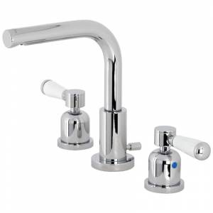 Kingston Brass FSC895.DPL Paris 1.2 GPM Widespread Bathroom Faucet with Pop-Up Drain Assembly Polished Chrome Faucet Bathroom Sink Faucets Double  - Polished Chrome
