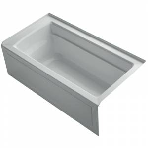 "Kohler K-1123-RAW Archer 60"" Alcove Soaking Bath Tub with Bask Heating and Right Drain Ice Grey Tub Soaking Alcove  - Ice Grey"