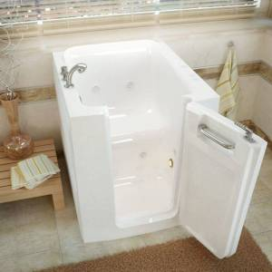 """MediTub 3238RH 32"""" Acrylic Whirlpool Walk In Tub for Alcove Corner or Single Wall Installations with Left Drain Drain Assembly and Overflow White"""