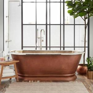 "Signature Hardware 909278-61-TD Kaela 61"" Copper Pedestal Tub with Tap Deck Antique Copper Patina Tub Soaking Freestanding"