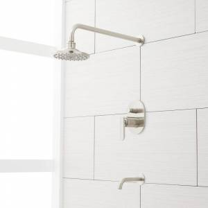 "Signature Hardware 931420-6-15.5-1.8 Wingfield Pressure Balanced Tub and Shower Trim Package with 6"" Rain Shower Head - Rough In Included Brushed"